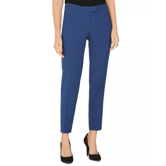 Anne Klein Women's Pinstriped Tab-Waist Dress Pants Dark Blue Size 16