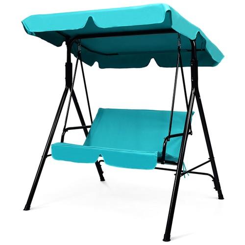 Costway  Loveseat Patio Canopy Swing Glider Hammock Cushioned Blue