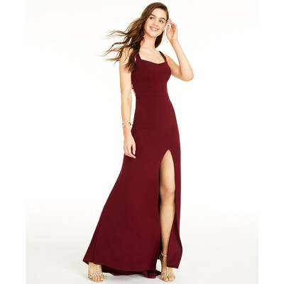 B Darlin Juniors' Strappy-Back Gown Red Size O
