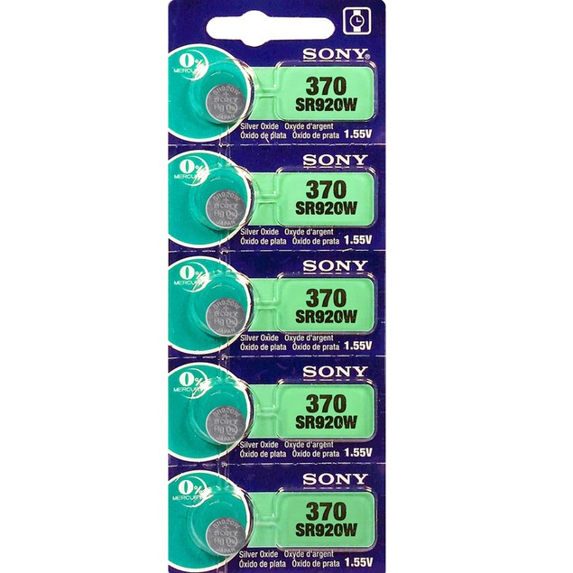 5 Murata 370 (SR920W) 1.55V Watch Batteries- Replaces Sony 371