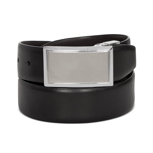Perry Ellis Men's Shiny Leather Reversible Plaque Belt Black Size 20