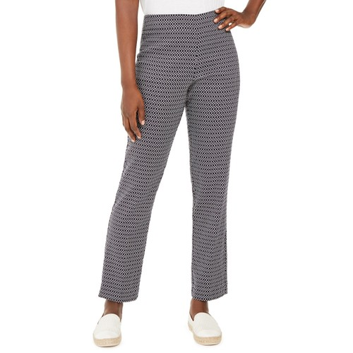 JM Collection Women's Jacquard Pull-On Pants Blue Size Medium