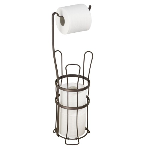mDesign Free Standing Toilet Paper Holder for Bathroom Storage - Bronze