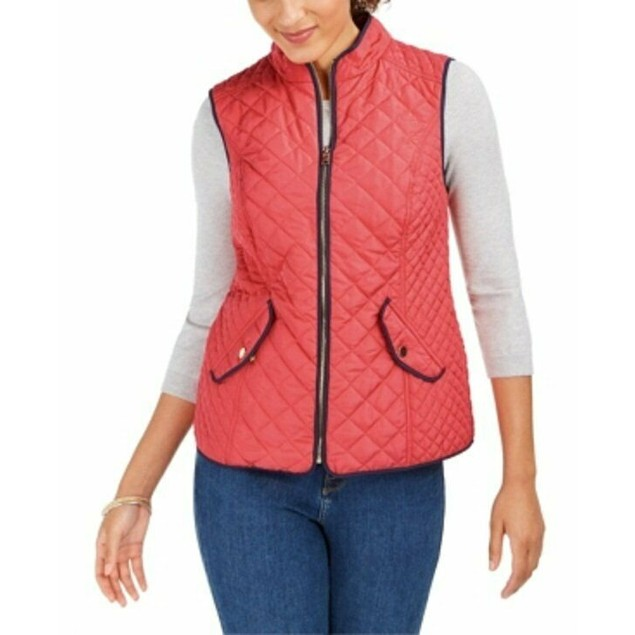 Charter Club Women's Quilted Stand-Collar Vest Orange Size Medium