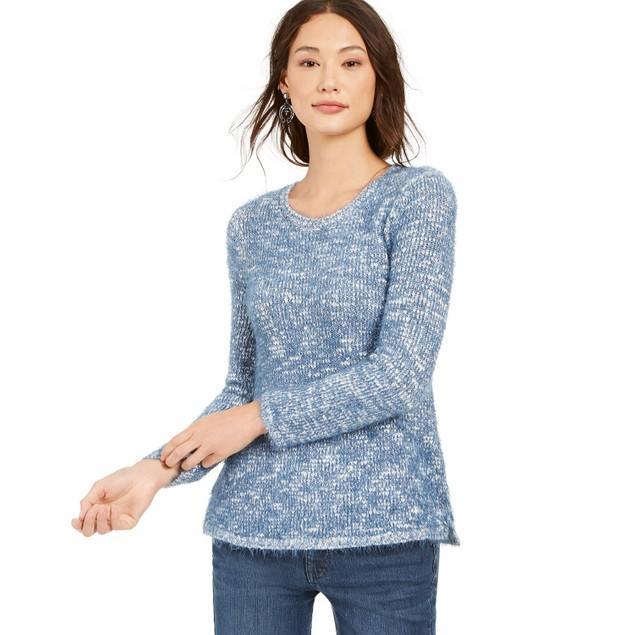 Style & Co Women's Marled Eyelash-Texture Sweater Blue Size Large
