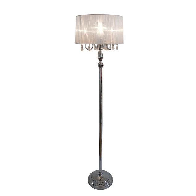 Elegant Designs Trendy Sheer Shade Floor Lamp with Hanging Crystals