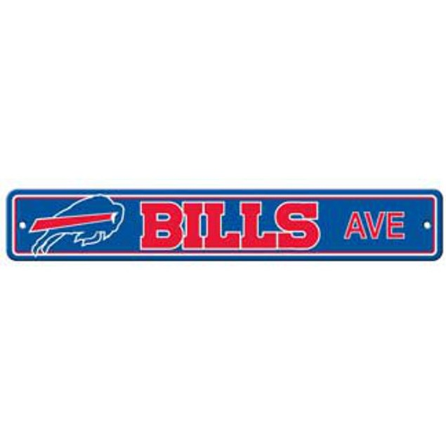 "Buffalo Bills Ave Street Sign 4""x24"" NFL Football Team Logo Avenue Man Cave"