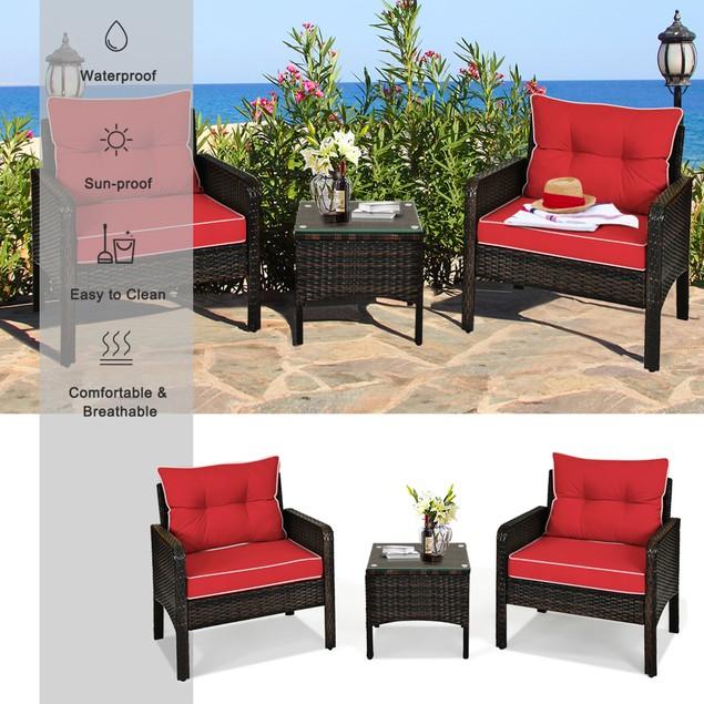 3PCS Patio Outdoor Rattan Furniture Set w/ Coffee Table