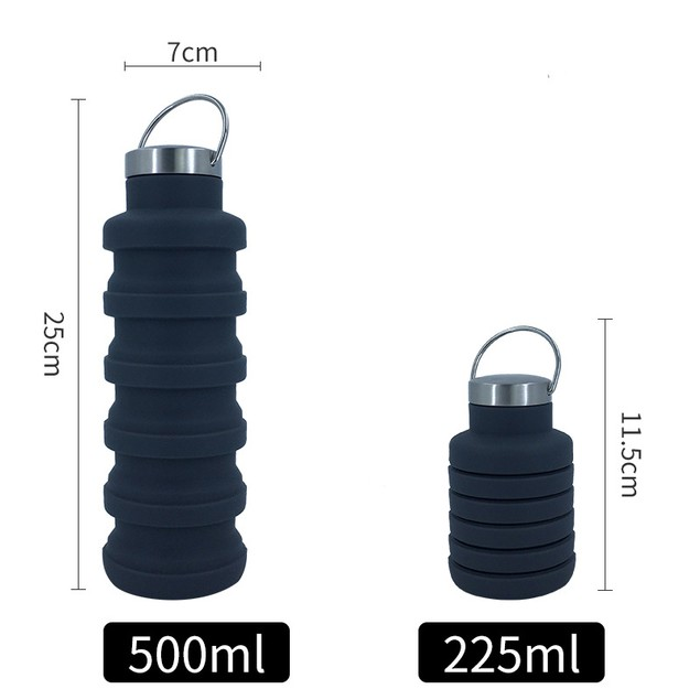 Portable Silicone Folding Cup 500ml Creative Riding Outdoor Retractable Silicone Water Cup