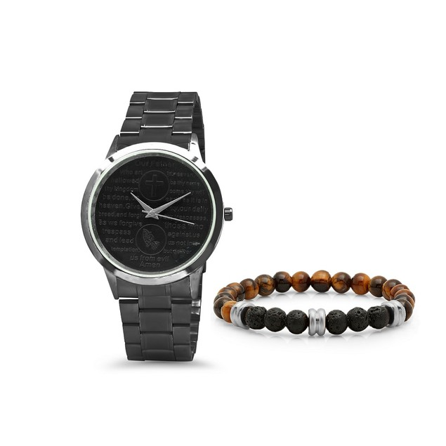 Gunmetal Bracelet & Watch Set W/ Tiger Eye Beaded Bracelet