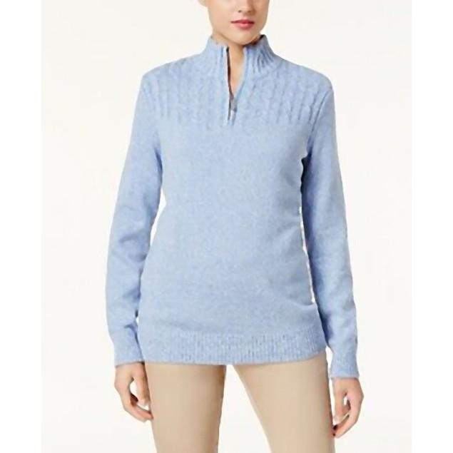 Karen Scott Women's Marled-Knit Quarter-Zip Sweater Blue Size Small