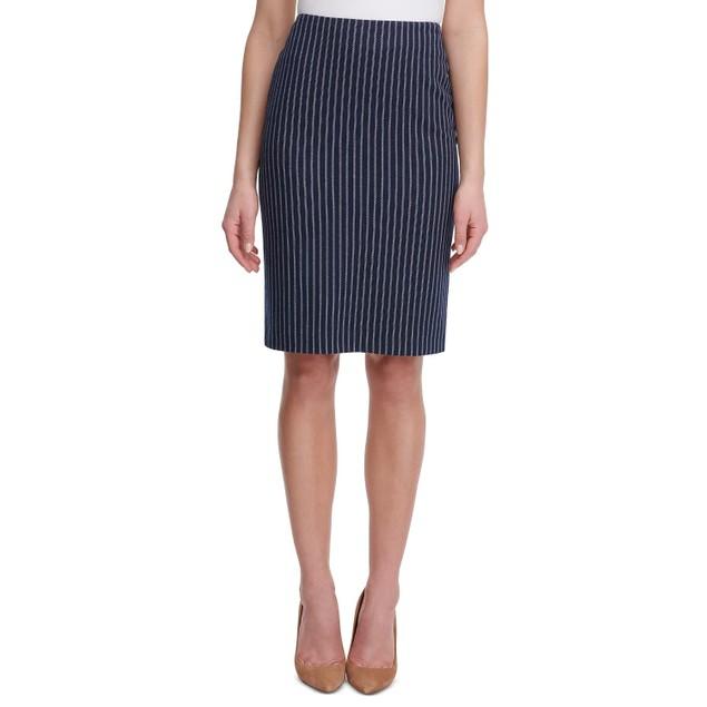 Tommy Hilfiger Women's Striped Pencil Skirt Blue Size 0