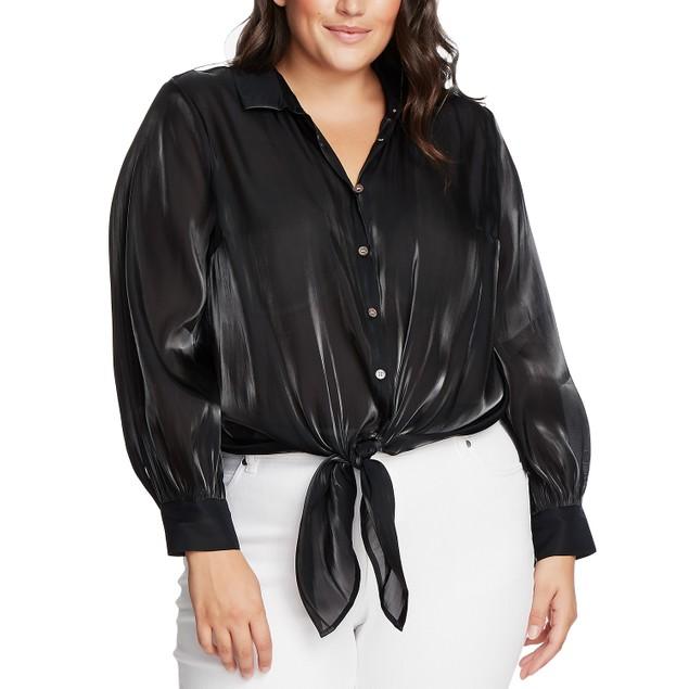 Vince Camuto Women's Plus Size Tie-Front Shirt Black Size 2X
