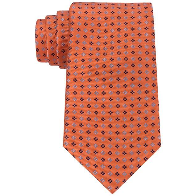 Tommy Hilfiger Men's Square Neat Tie Orange Size Regular