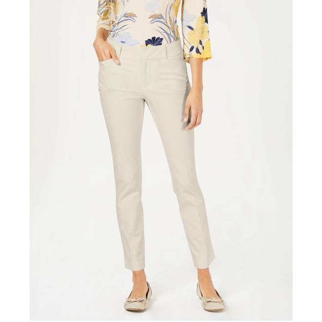 Charter Club Women's Petite Solid Newport Slim-Leg Pants Brown Size 0.5