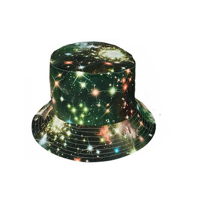 Galaxy Bucket Hat Green Space Solar System Cosmos Outer Gift Cap