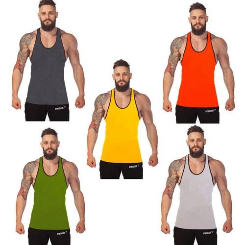 Men's Black Band I-shaped Fitness Vest