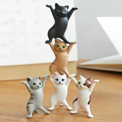 5 Pack Funny Cat Pen Holder Ornaments Dancing Cat Earphone Pens Stand Desk Decor