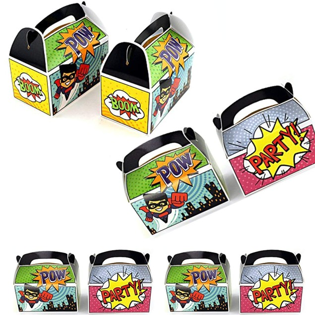 Set of 12 Superhero Party Goody Treat Boxes Party Gifts Goodies