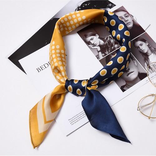 Square Silk Scarf/ Neckerchief/ Bandana - [Stripes Yellow]