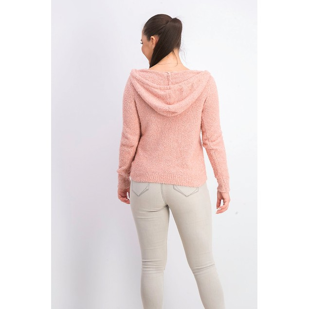 Crave Fame Juniors' Marled Fuzzy Pullover Hoodie Pink Size Extra Small
