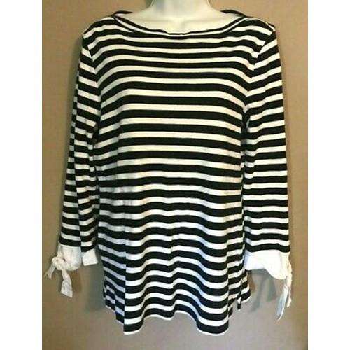 Charter Club Women's Striped 3/4-Sleeve Top Black Size Medium