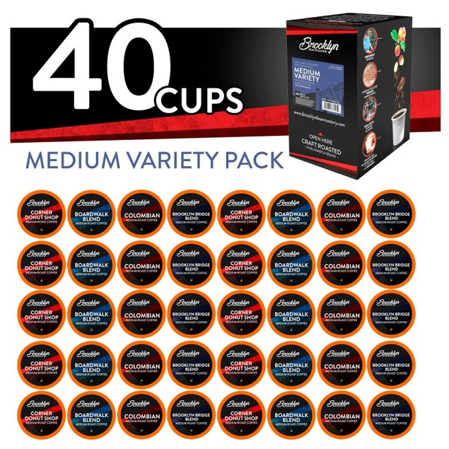 Brooklyn Beans Med. Roast Coffee Pods for Keurig Brewer,Variety, 40 count