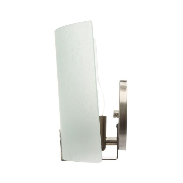 Hampton Bay Obsidian 1-Light Matte Brushed Nickel Sconce W/ Frosted Glass