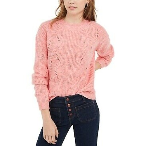 Hippie Rose Juniors' Marled Mock-Neck Sweater Red Size X-Large