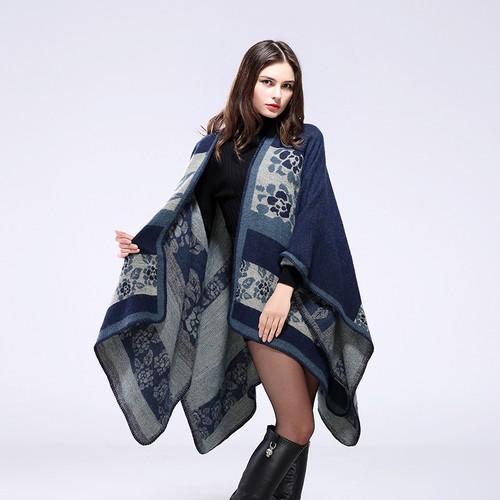 Ladies Thicken Floral Warm Shawl Jacket Scarf