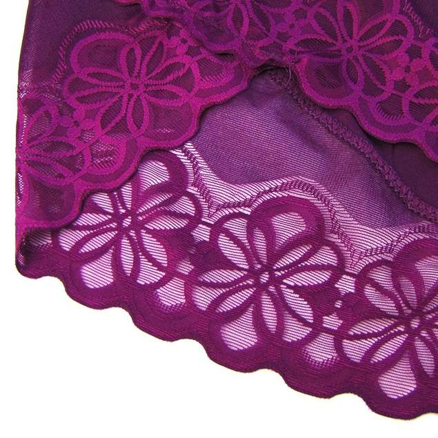 4XL-6XL Women Plus Size Underwear Hollow Lace Panties High Waist