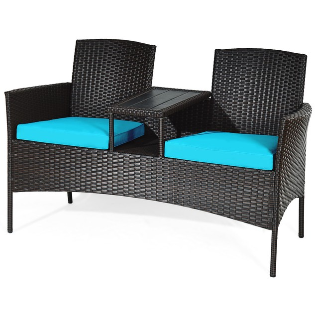 Costway Patio Rattan Conversation Set Loveseat Sofa Cushioned Coffee Table
