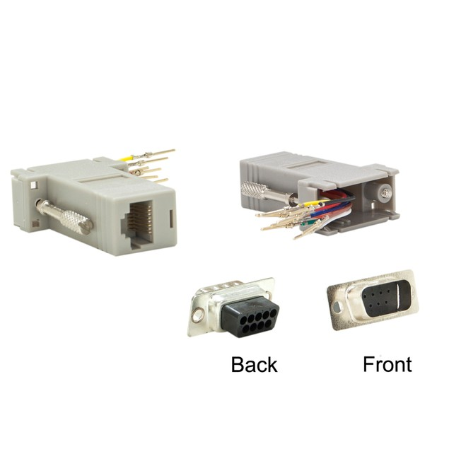Modular Adapter, Gray, DB9 Male to RJ45 Jack