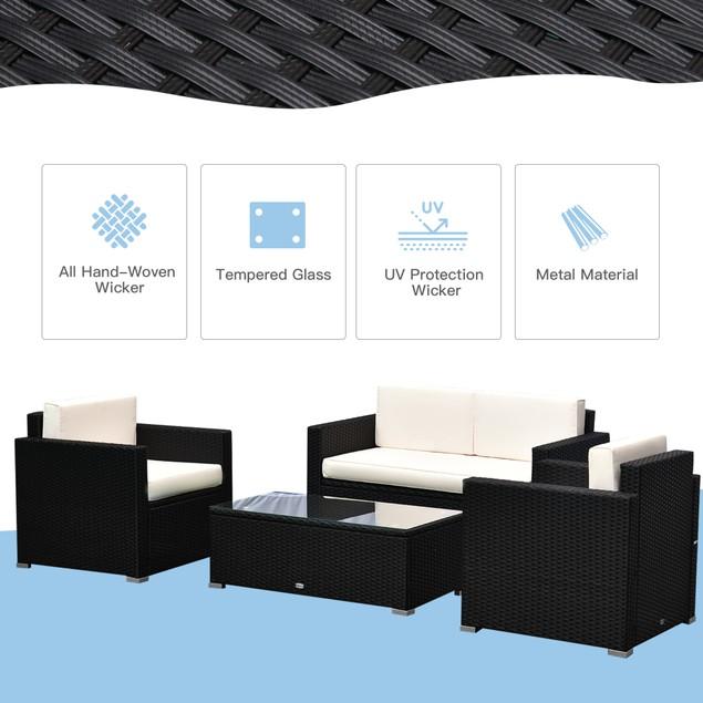 3pcs Patio Furniture Set Rattan Sectional Wicker Sofa Lounger Balcony