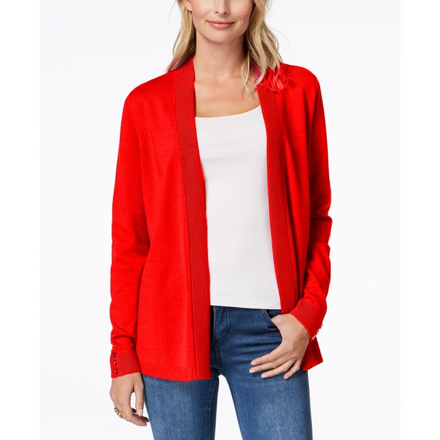 Charter Club Women's Open-Front Cardigan Red Size Large
