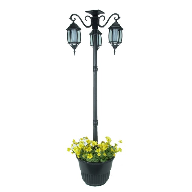 6.6 ft (79 in) Tall Solar Lamp Post and Planter-3 Heads, White LEDs, Black