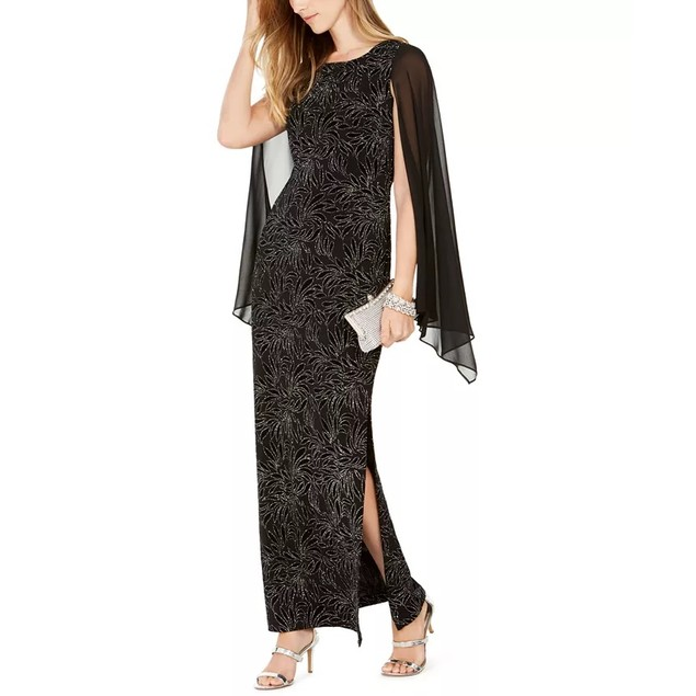 Connected Embellished Women's Flocked Chiffon Gown Silver Size 6