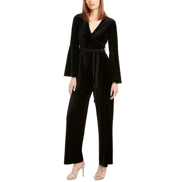 Calvin Klein Women's Velvet Wrap Jumpsuit Black Size 8