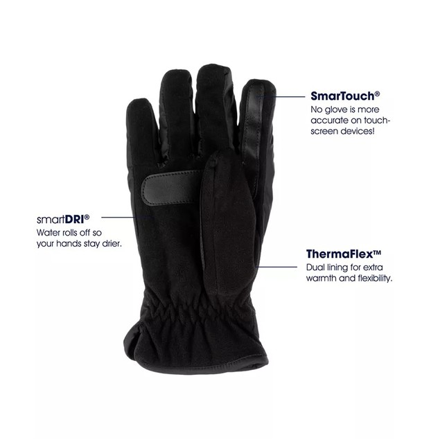 Isotoner Signature Men's Sleek Heat Sports Gloves Black Size Large
