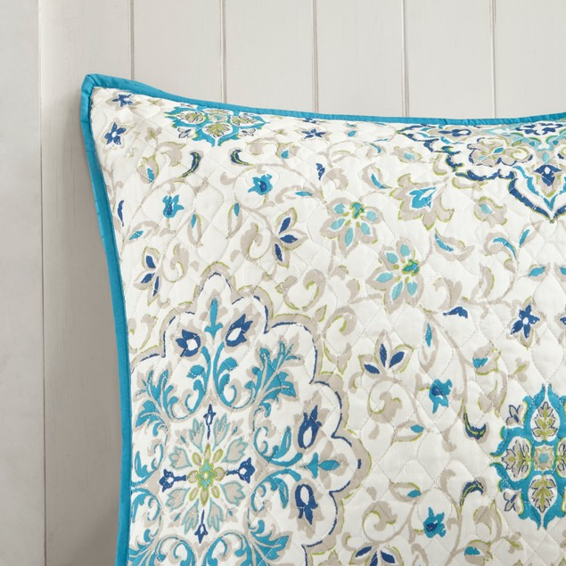 Madison Park Tissa 6 Pc Set, Cozy Reversible Quilted Coverlet, Full, Blue