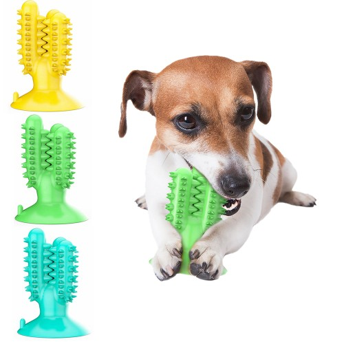 Toothbrush Chew Toy Dog with Cactus Shaped Suction Cup for Dental Oral Care