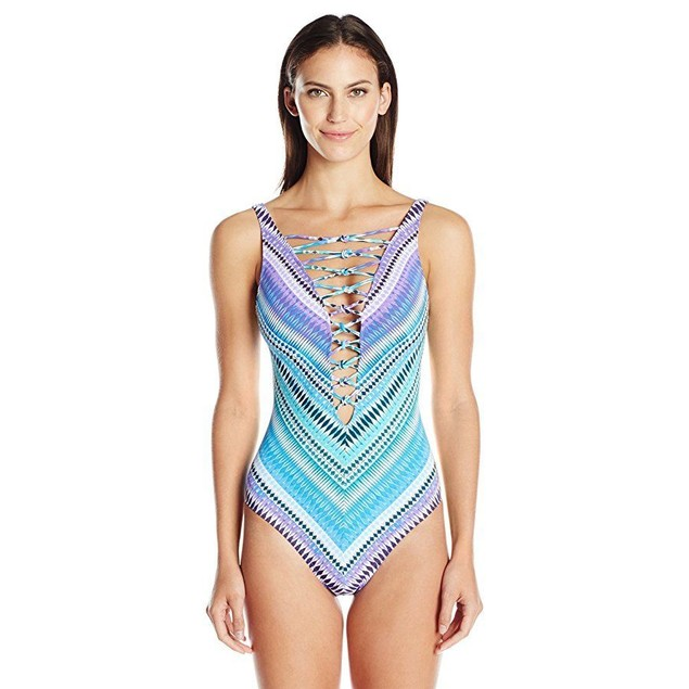 Bleu | Rod Beattie Women's Desert Heat Lattice-Front One-Piece SZ:4