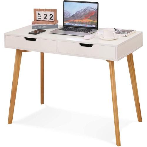 Olivia West White Minimalist Writing Desk with Drawers