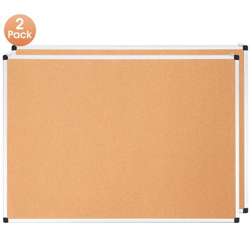 Costway 2 Pack Cork Bulletin Board 44'' x 32'' Wall Mounted Notice Board w/