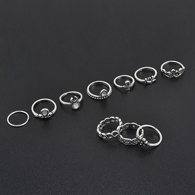 10Pcs/Set Elephant Flower Moon Finger Ring