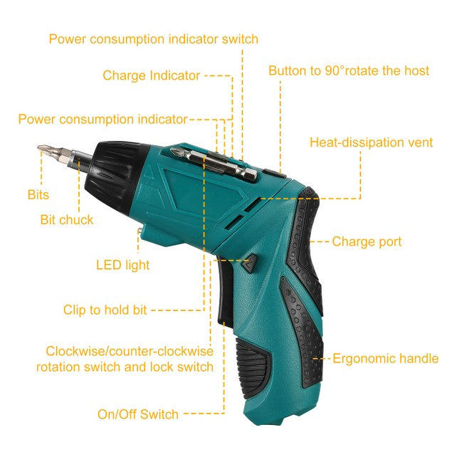 Cordless Electric Screwdriver Set Rechargeable 4.8V Drill Driver