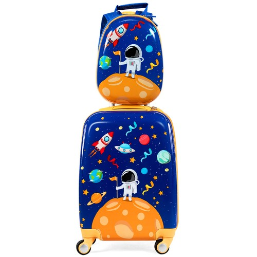 Costway 2PC Kids Luggage Set 18'' Rolling Suitcase & 12'' Backpack