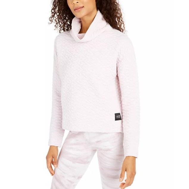 Calvin Klein Women's Performance Quilted Funnel-Neck Top Pink Size XX Large