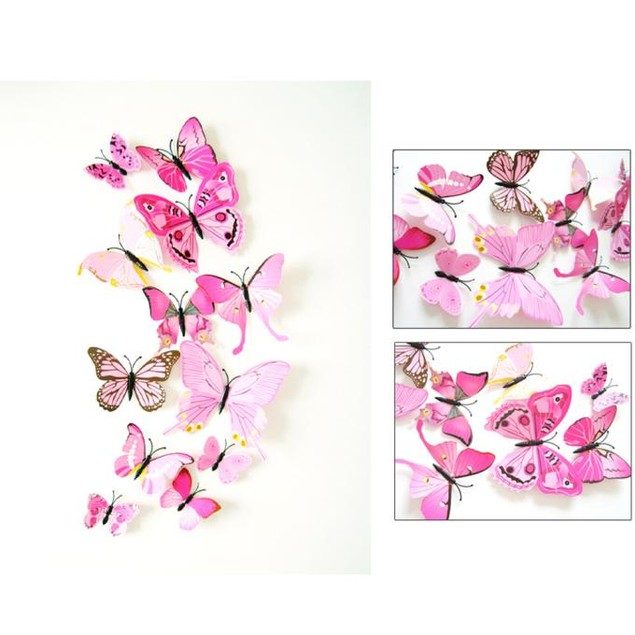 12x 3D Butterfly Wall Sticker Room Decor Decal Applique