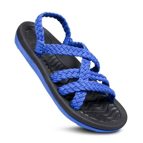 WALKUU Women's Crochet Summer Essentials Lightweight Slingback Sandals